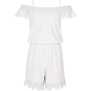 Girls white crochet cold shoulder playsuit