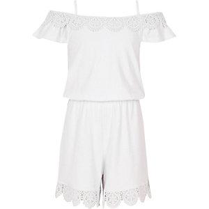 Witte gehaakte schouderloze playsuit voor meisjes