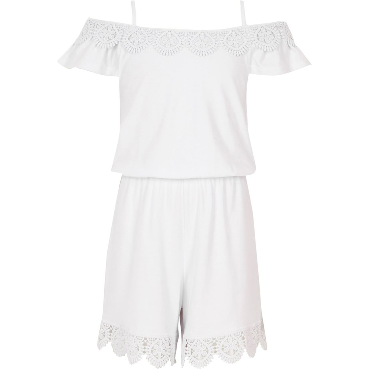 Girls white crochet cold shoulder romper