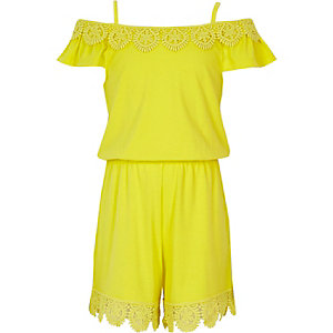 Girls yellow crochet cold shoulder playsuit