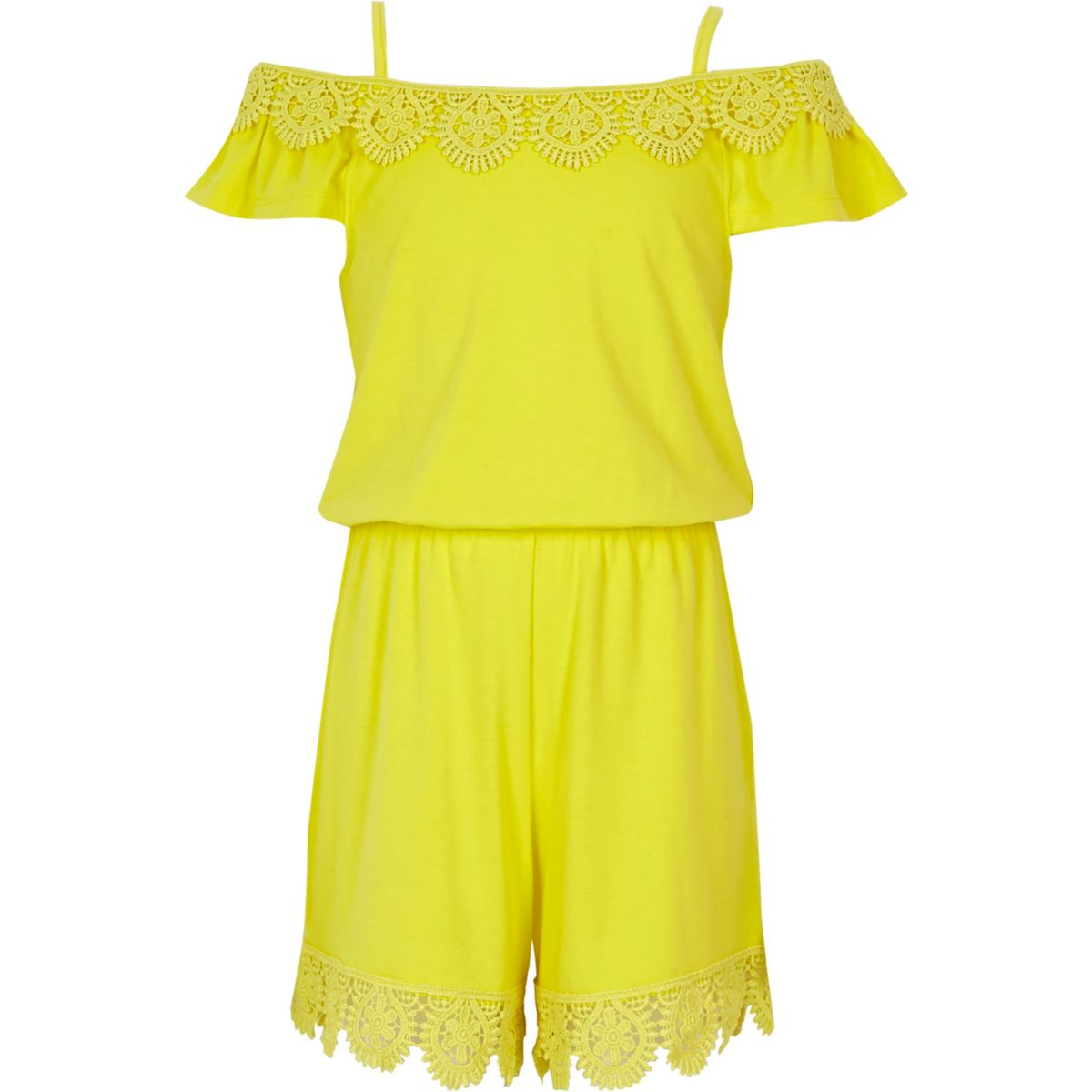 Girls yellow crochet cold shoulder romper