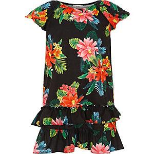 Zwarte tropische jurk met ruches en pofmouwen voor meisjes