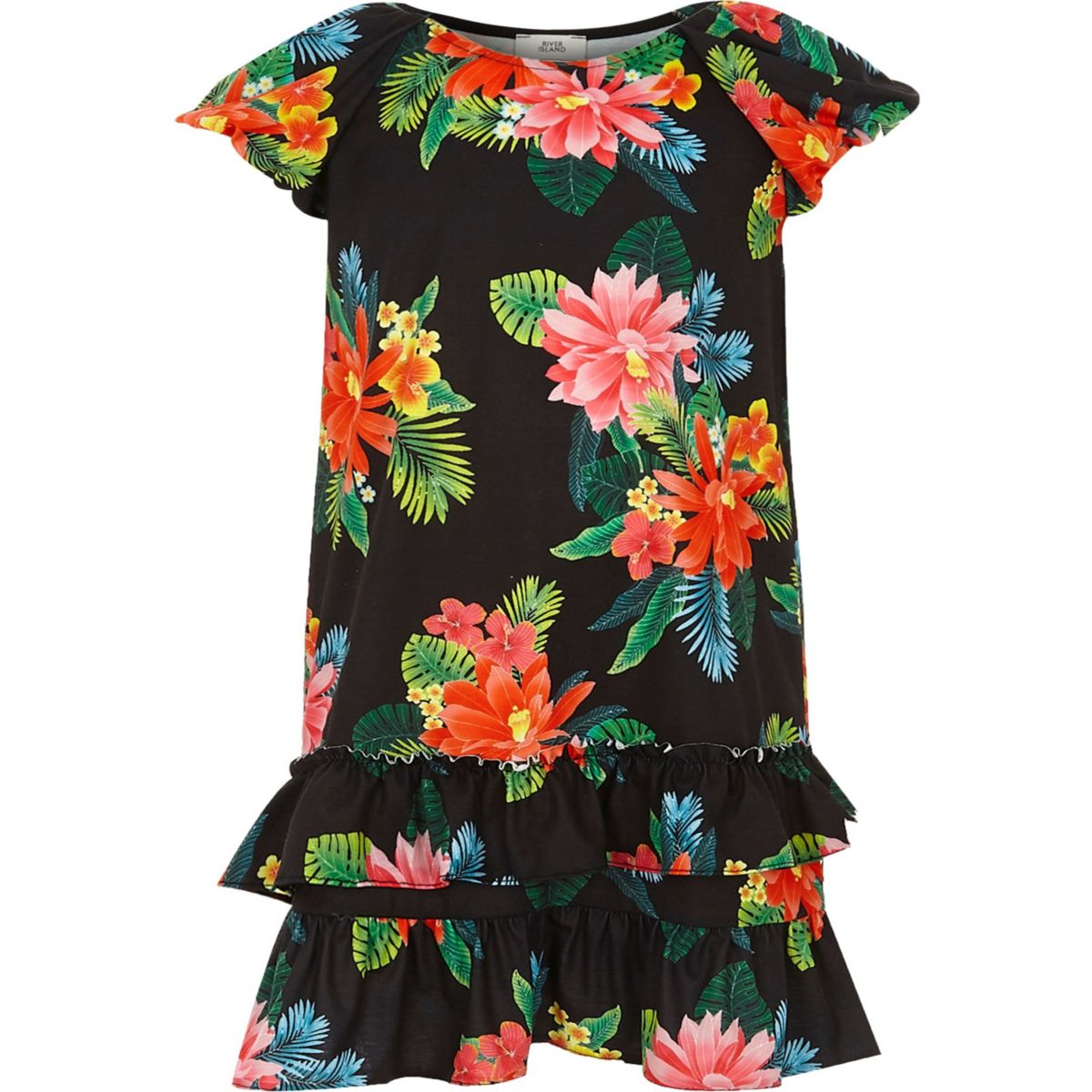 Girls black tropical frill puff sleeve dress