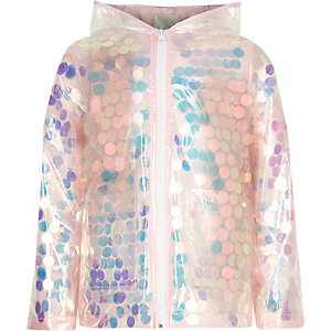 Girls pink iridescent sequin raincoat