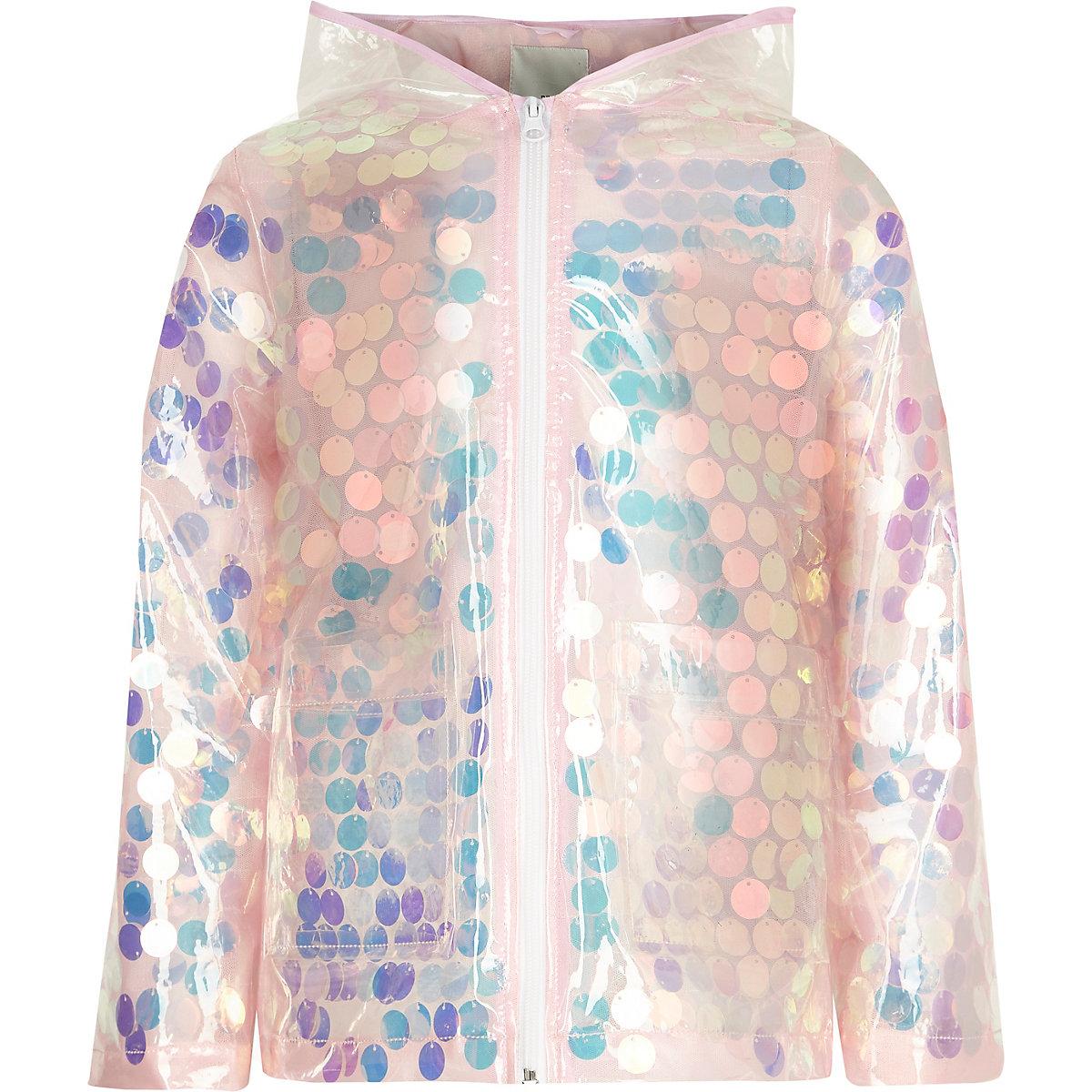 Girls pink iridescent sequin raincoat