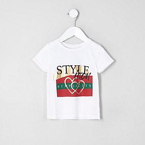 Mini - Wit T-shirt met 'style icon'-print voor meisjes
