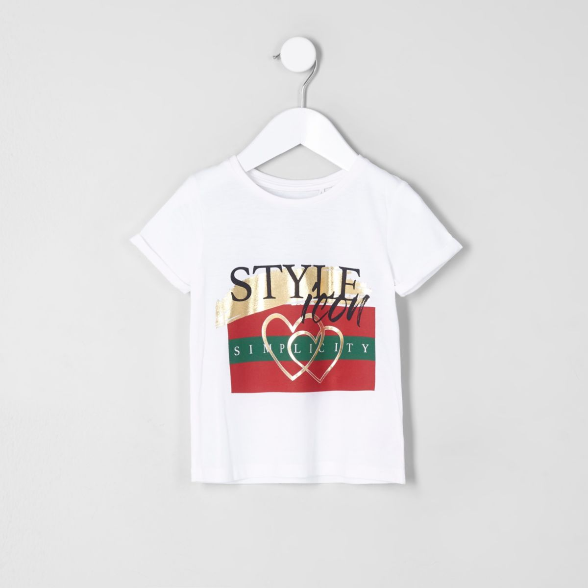 Mini girls white 'style icon' print T-shirt