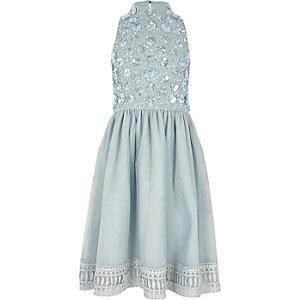 Girls blue sequin embellished high neck dress