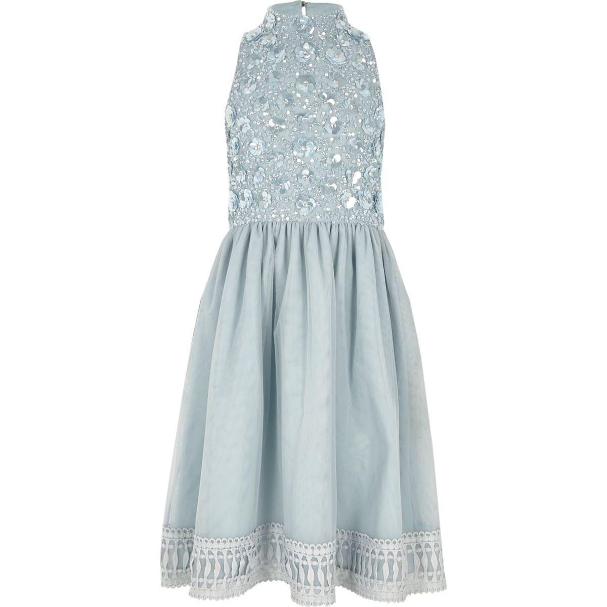 Girls blue embellished flower girls dress
