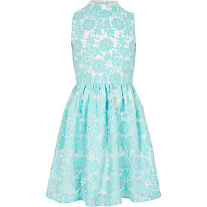 Girls blue high neck lace prom dress