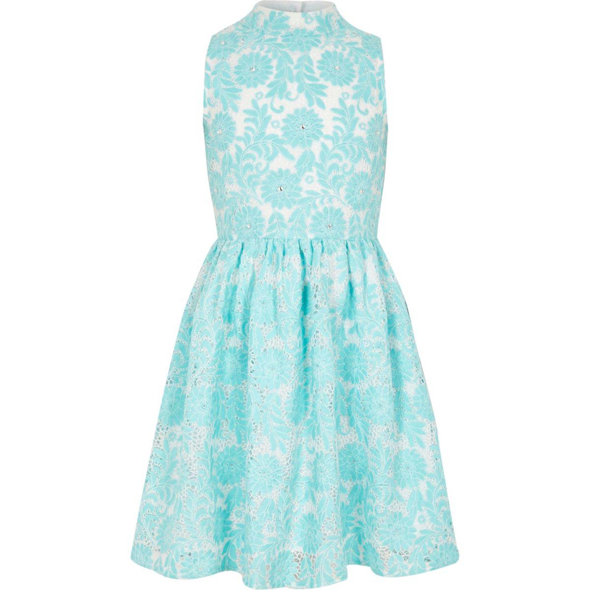 Girls blue lace high neck prom dress