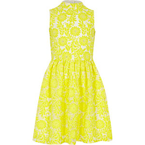 Girls yellow high neck lace prom dress