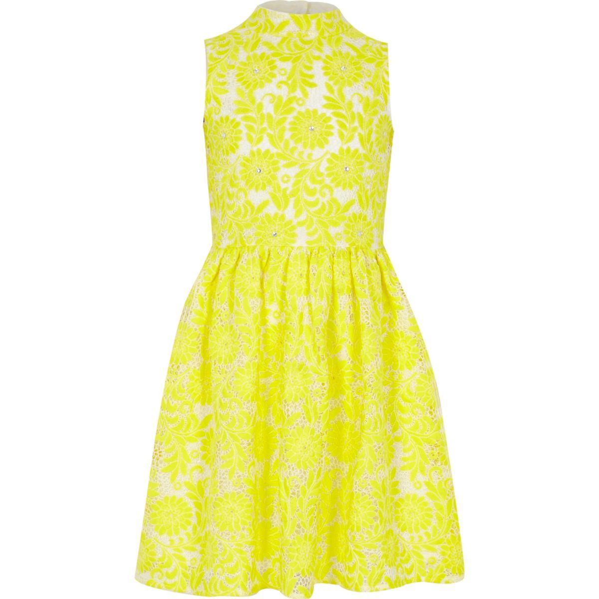 Girls yellow high neck lace prom dress
