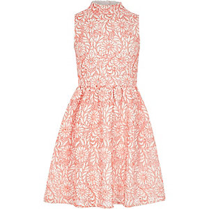 Girls coral lace prom dress