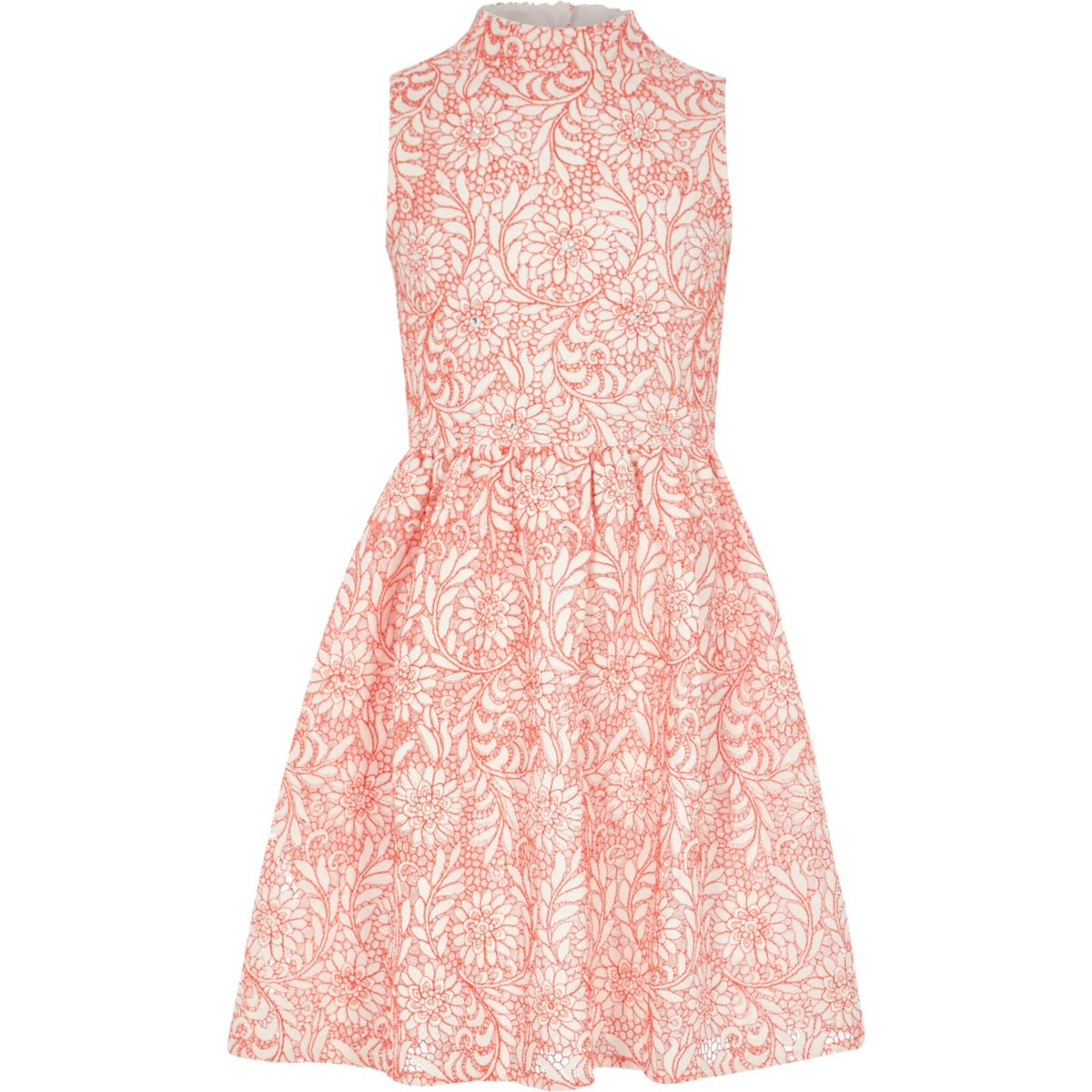 Girls coral high neck lace prom dress