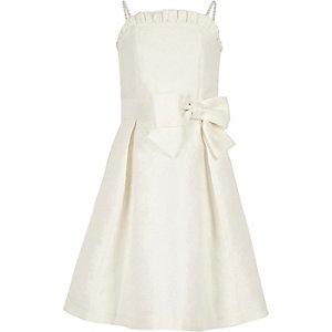 Weißes Jacquard-Kleid für Blumenmädchen