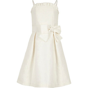 White jacquard flower girl dress