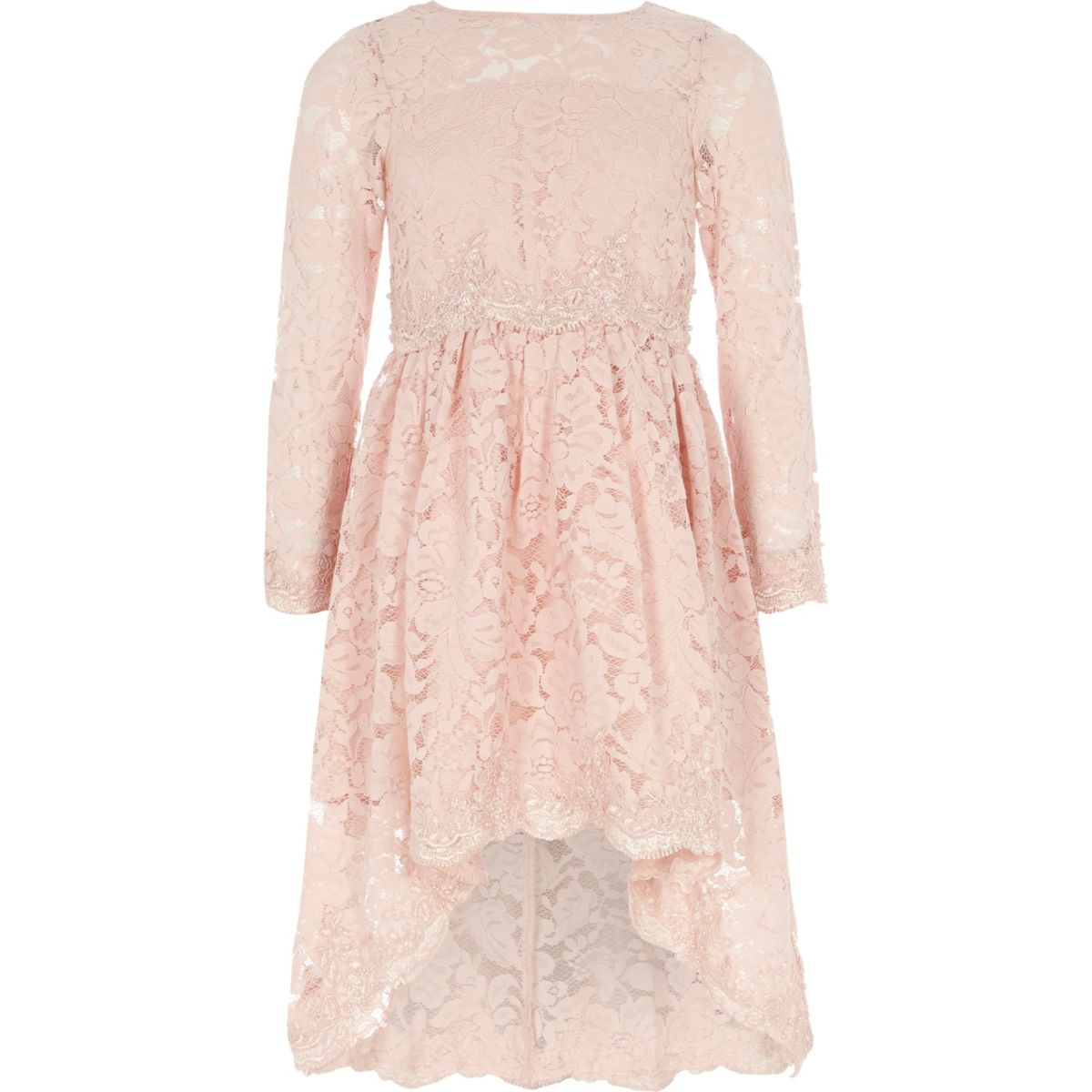 Girls pink lace embellished prom dress