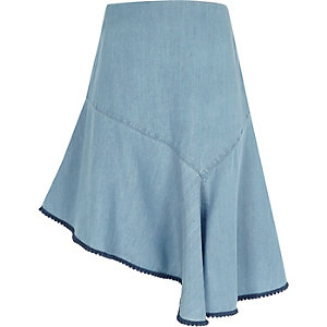 Girls light blue asymmetric denim skirt