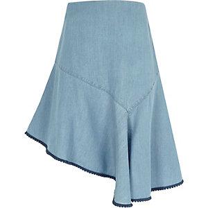 Lichtblauwe asymmetrische denim rok voor meisjes