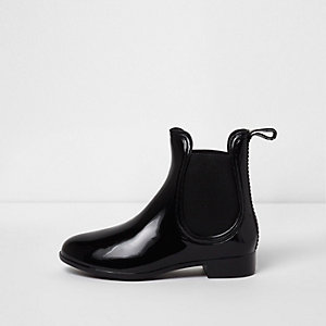 Girls black patent welly chelsea boots