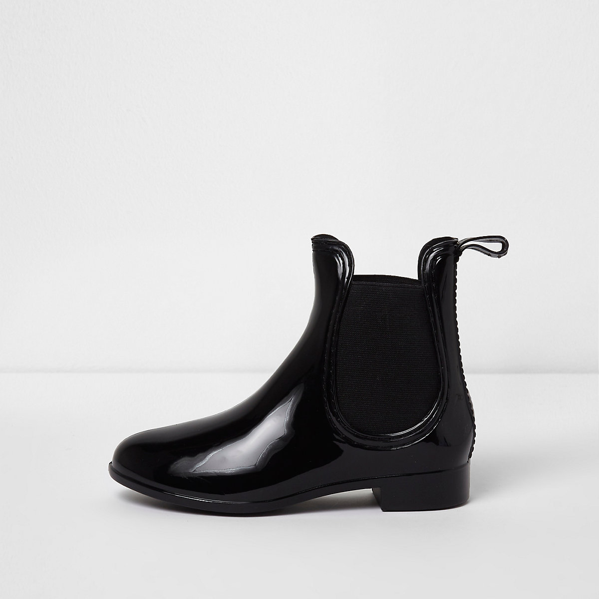 Girls black patent chelsea boot wellies