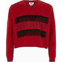 Girls red 'love is love' fringe sweatshirt