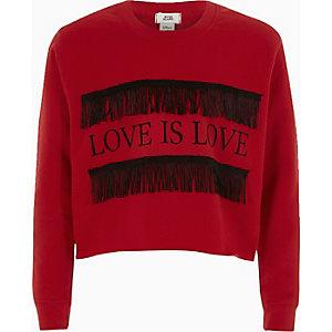 """Rotes Sweatshirt mit Fransen und """"Love is love""""-Print"""