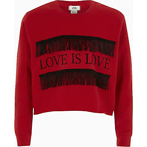 Girls red 'love is love' fringe sweatshirt