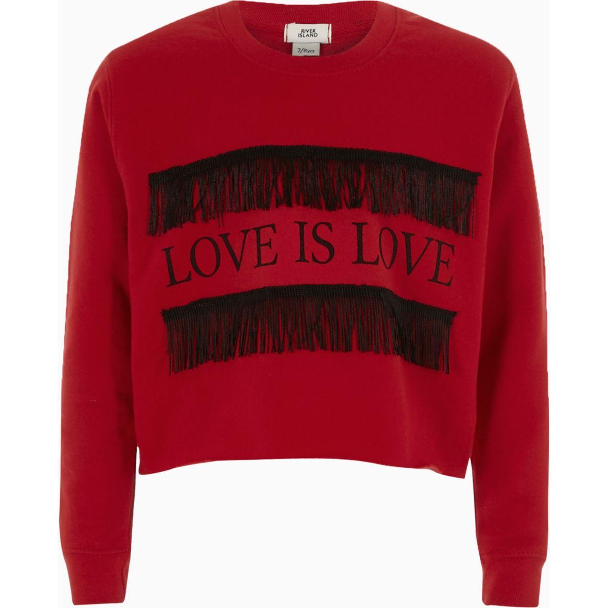 Sweat «love is love» rouge à franges pour fille