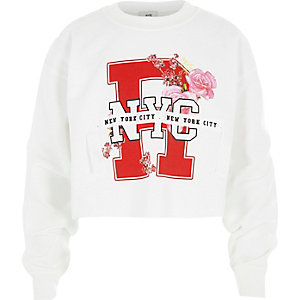 Girls white 'NY' ribbon cropped sweatshirt
