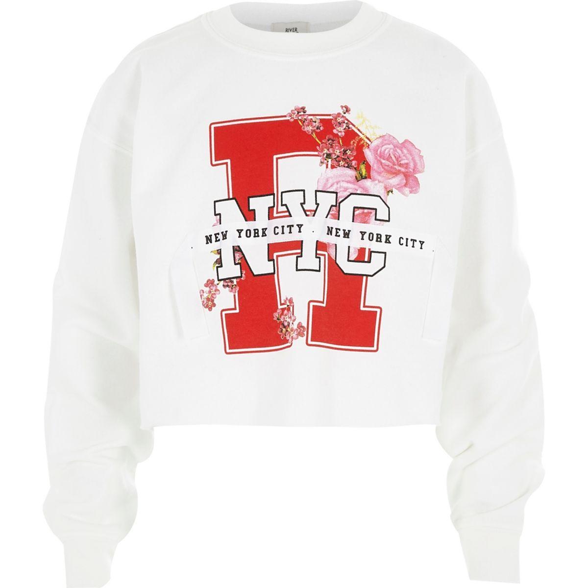 Girls white 'NY' ribbon cropped sweatshirt