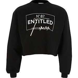Girls black 'entitled' print sweatshirt