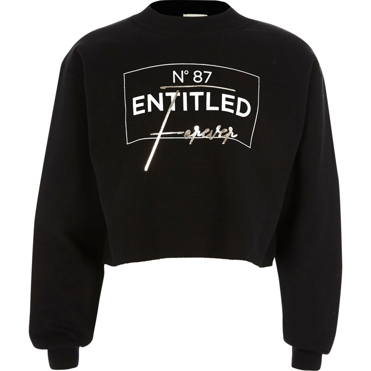 Girls black 'entitled' print sweatshirt
