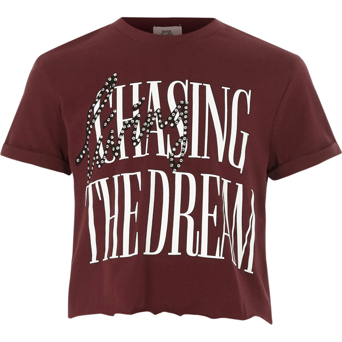 Girls dark red 'the dream' cropped T-shirt