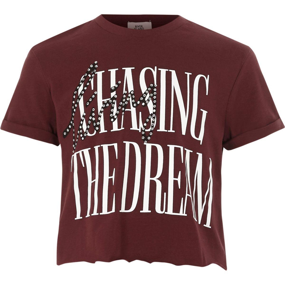 """Dunkelrotes, kurzes T-Shirt """"the dream"""""""