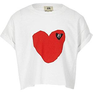 T-shirt court imprimé cœur RI blanc pour fille