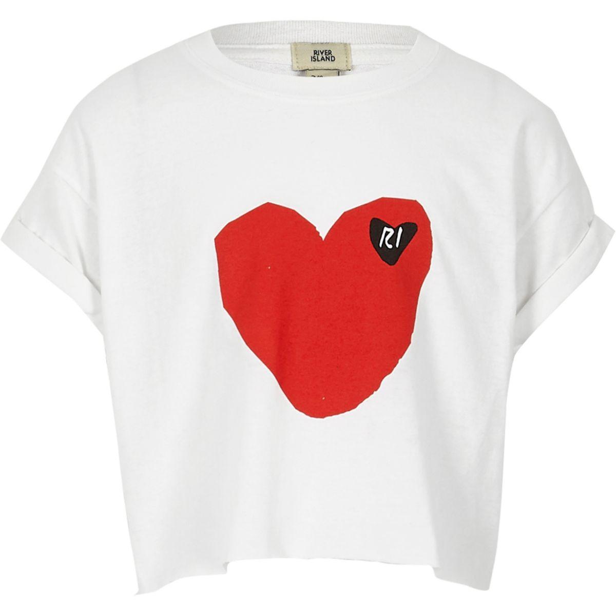Girls white RI heart print cropped T-shirt