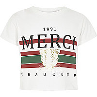 Girls white 'merci' print cropped T-shirt