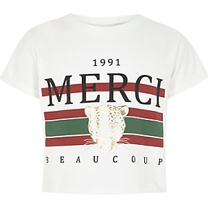 Girls white 'merci' print cropped T-shirt