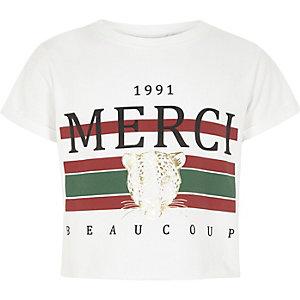 T-shirt court imprimé «merci» blanc pour fille
