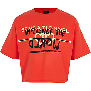 T-shirt court imprimé «influence» rouge pour fille