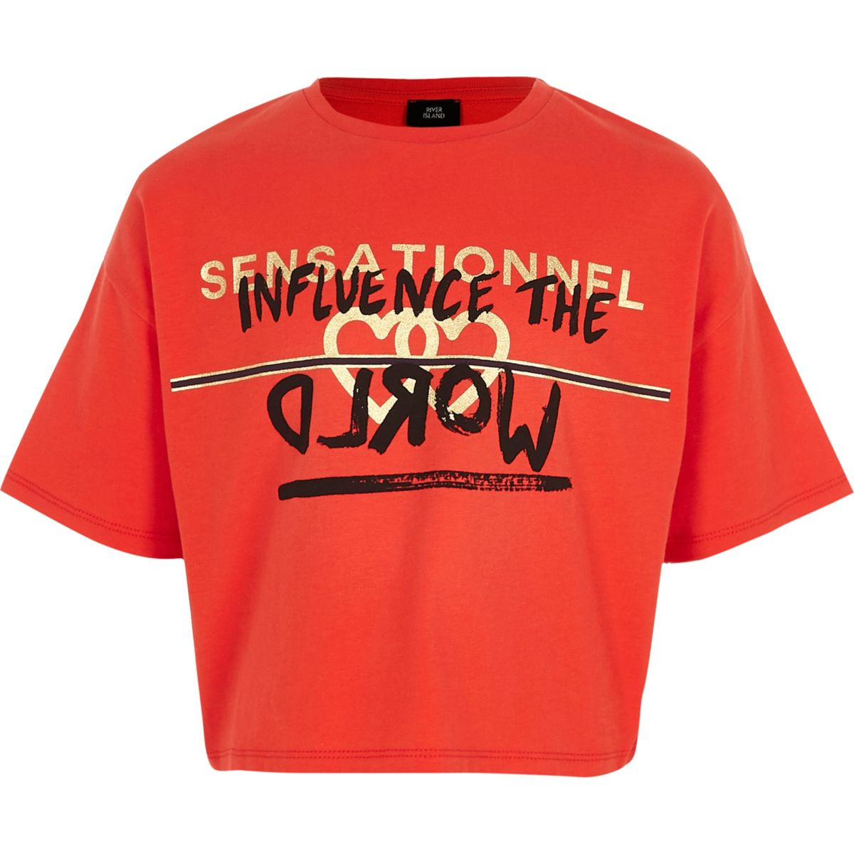 "Rotes, kurzes T-Shirt ""Influence"""