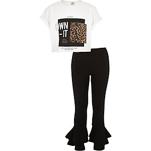 Girls white 'own it' print T-shirt outfit