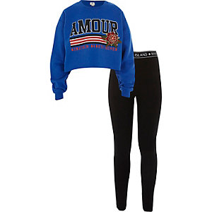 Girls blue 'amour' print sweatshirt outfit