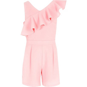 Girls pink asymmetric frill romper