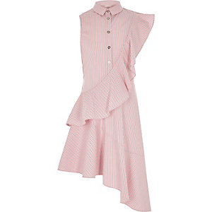 Girls pink stripe frill shirt dress