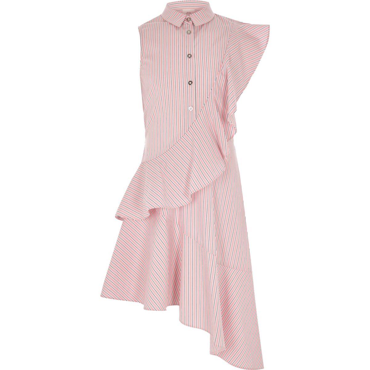 Girls pink asymmetric frill shirt dress
