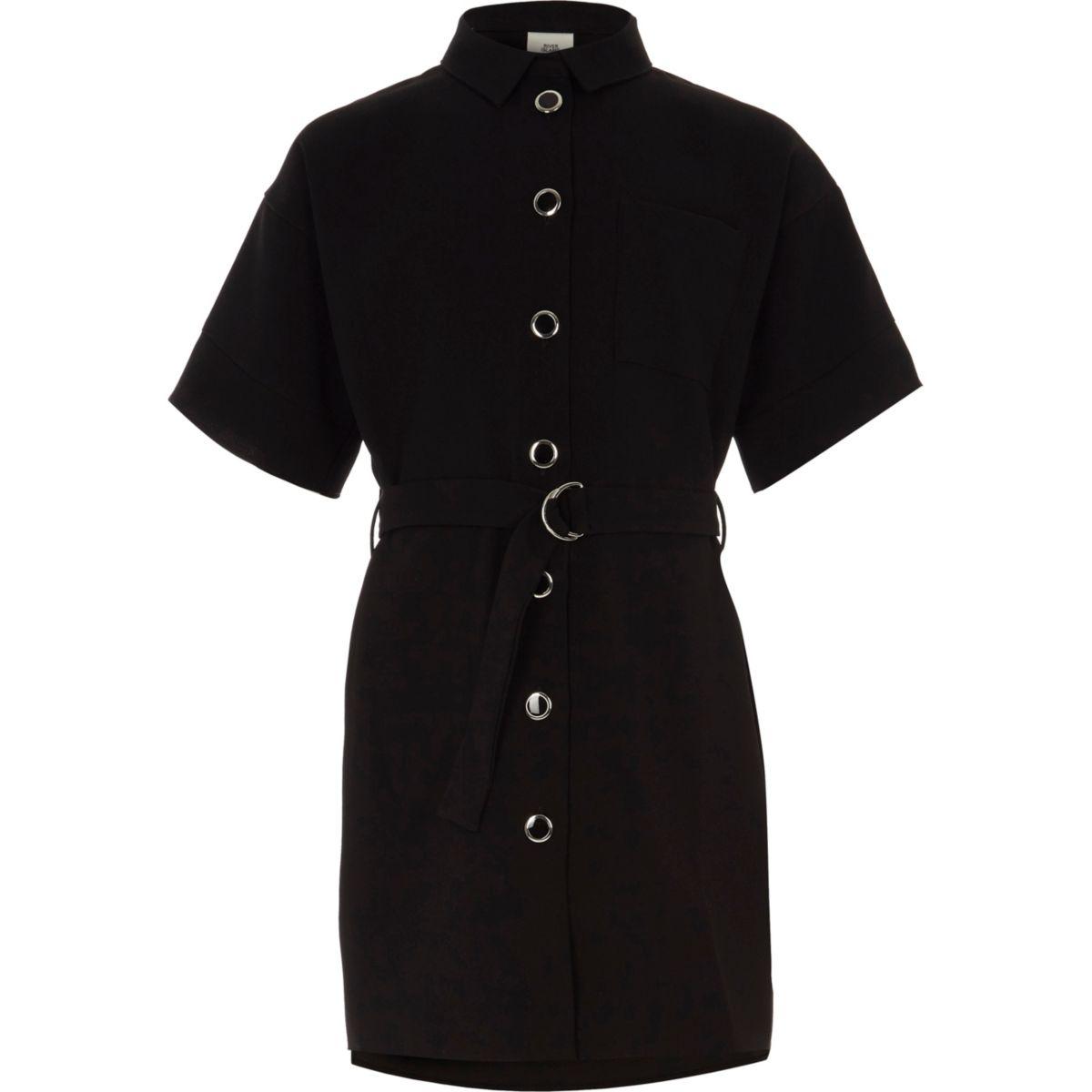 Girls black belted military shirt dress