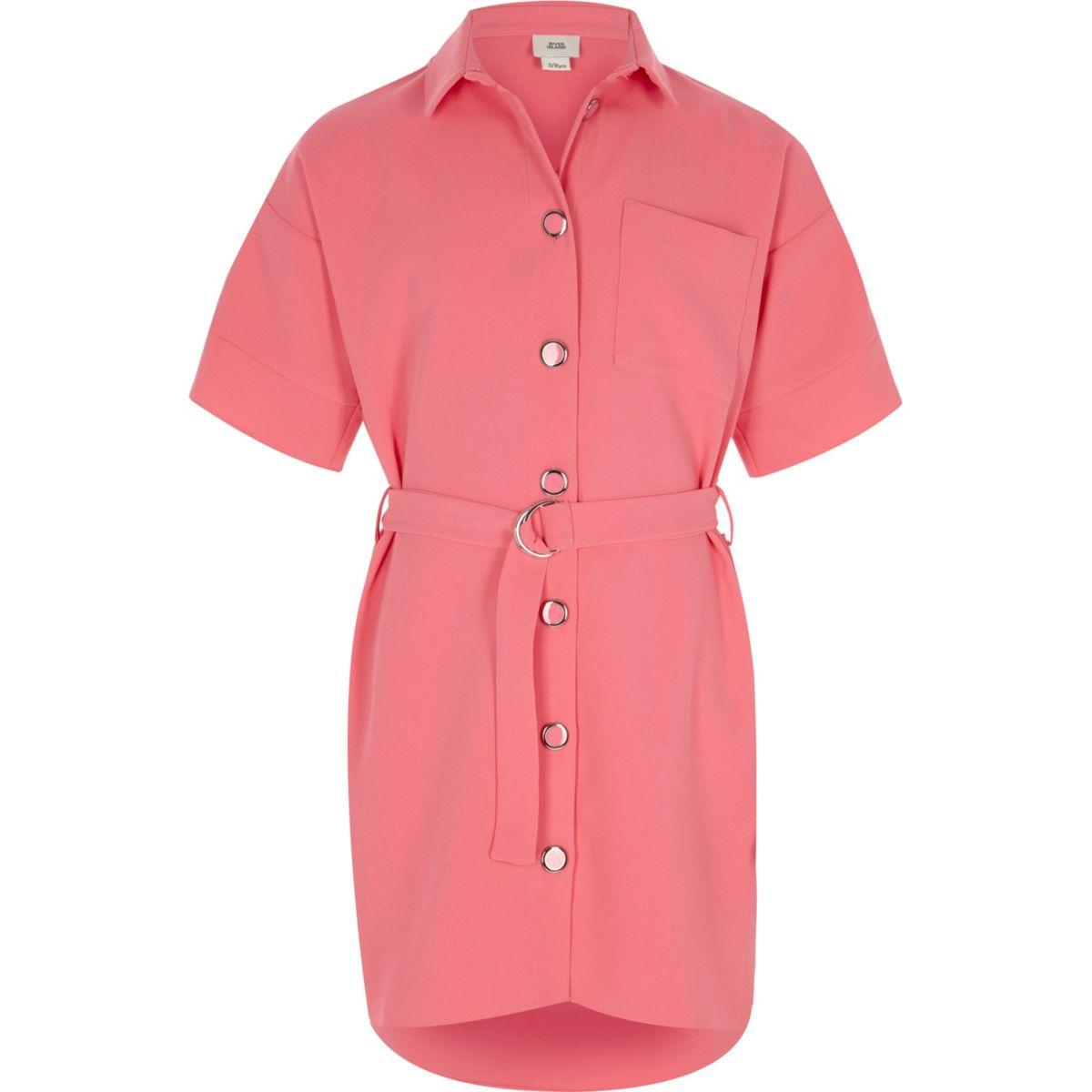 Girls pink belted military shirt dress